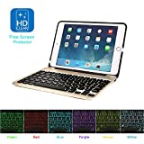 MOSTOP iPad Mini 4 Keyboard Bluetooth Slim Aluminum Wireless Keypad With 7-Color LED Backlit & Built-in 2800mAh Power Bank for iPad Mini 4 (Gold)