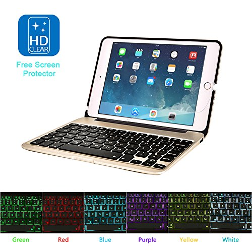 MOSTOP iPad Mini 4 Keyboard Bluetooth Slim Aluminum Wireless Keypad With 7-Color LED Backlit & Built-in 2800mAh Power Bank for iPad Mini 4 (Gold) by MOSTOP (Image #7)