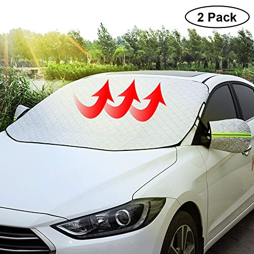 SINYSO Car Magnetic Windshield Sun Shade Snow Ice Cover,Universal Size [2 Pack,Silver]