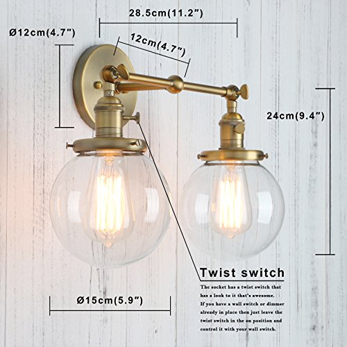 Permo Double Sconce Vintage Industrial Antique 2-Lights Wall Sconces with Dual Mini 5.9'' Round Clear Glass Globe Shade (Antique) by PERMO (Image #2)
