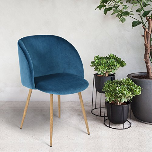 Mid Century Style Living Room Blue Velvet Accent Arm Club Chair Dining Chair , Strong Steel Legs and Velvet Back