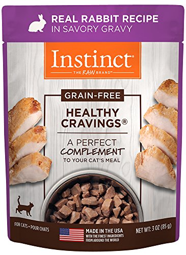 Instinct Healthy Cravings Grain Free Real Rabbit Recipe Natural Wet Cat Food Topper by Nature's Variety, 3 oz. Pouches (Case of 24) (Grain Free Cat Food Rabbit)
