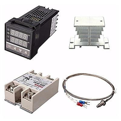 SODIAL(R) Digital 220V PID REX-C100 Temperature Controller + max.40A SSR + K Thermocouple, PID Controller Set + Heat Sink