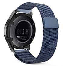 Gear S3 Watch Band, MoKo Milanese Loop Stainless Steel Mesh Smart Watch Strap for Samsung Gear S3 Frontier / S3 Classic / Moto 360 2nd Gen 46mm Smartwatch, BLUE (NOT FIT S2 & S2 Classic & Fit2)