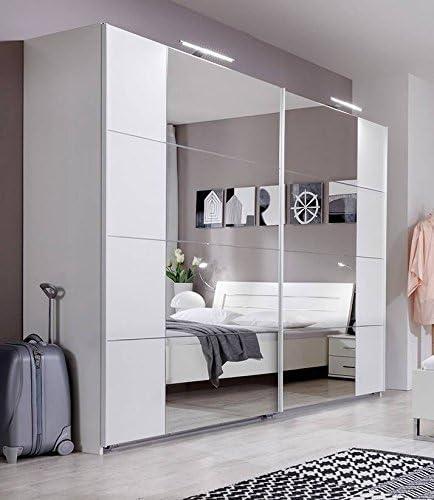 Davos- Armario con espejo con puerta corredera SlumberHaus de 270 cm con diseño moderno alemán, color blanco y cromado: Amazon.es: Hogar