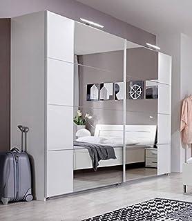 chrome bedroom furniture. SlumberHaus German Modern Davos White Chrome 270cm Sliding Slider Door Mirrored Wardrobe Bedroom Furniture