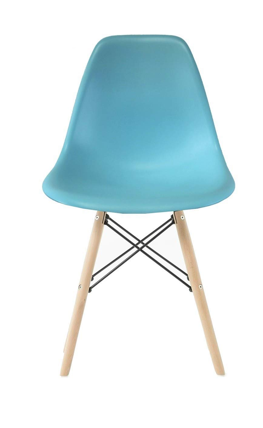 Plata Import PDI-PC-0116W Eames Style Side Chair with Natural Wood Legs Eiffel Dining Room Chair, Blue Plata Décor Import Inc