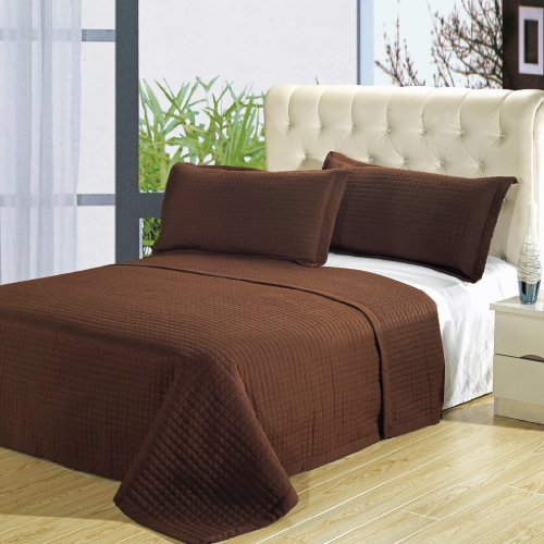 Pillow Quilted Microsuede (Cal King Size Luxury Chocolate Brown Checkered Quilted Wrinkle Free Microfiber 3 Piece Coverlet Set)