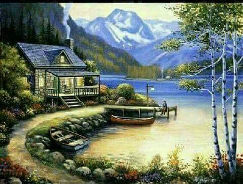 WiHome 5D Diamond Painting Kits for Adults Full Drill Log Cabin Embroidery Rhinestone Painting