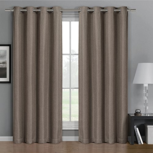 One Top Grommet Gulfport Faux Linen Blackout Weave Thermal Insulated Curtain Panel  Elegant And Contemporary Gulfport Blackout Panel  Brown 52  By 108  Panel