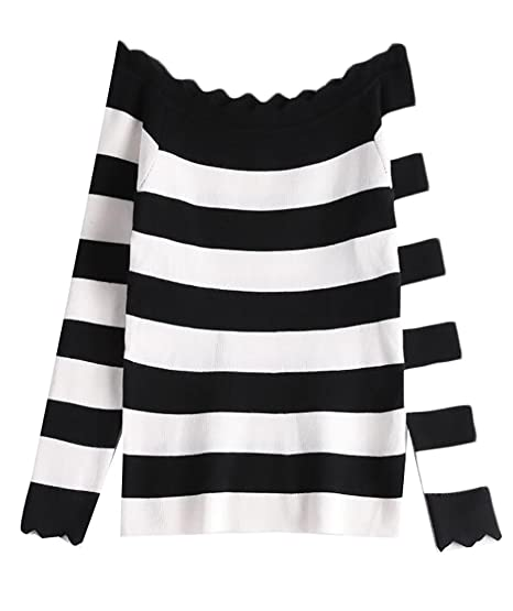 205bd097bb WAYA Womens Stylish Off Shoulder Striped Long Sleeve Jumper Pullover  Sweater Black os