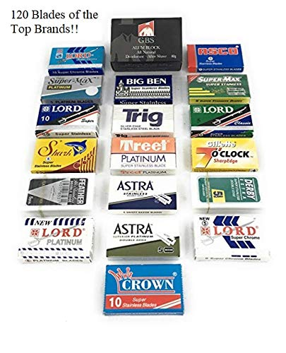 Double Edge Safety Razor Blade Variety Pack- Comes with 120 Blades and Natural Alum Block - Perfect for Barber Shavette and Double Edge Razors Best shaving Smooth face Sharp: Feather, Lord, Derby etc.