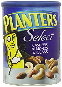 Planters Select Cashews, Almonds and Pecans Canister, 18.25 oz. (Count of 12)