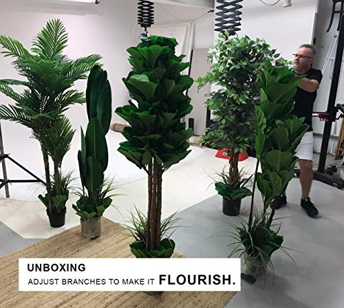 """GARDEN COUTURE Deluxe 78"""" Golden Cane Palm Silk Artificial Tree + Premium Fiddle Leaf Foliage in 8"""" Base + 12"""" Plant Pot Skirt 5"""