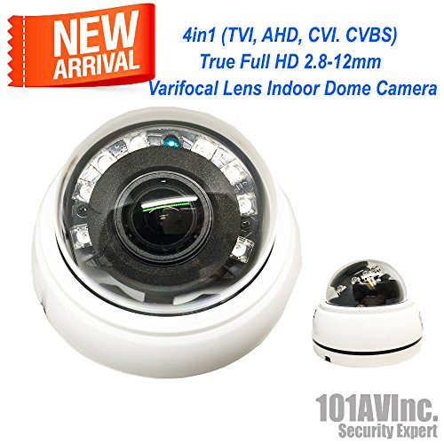 101AV 1080P True Full-HD 4in1 (TVI, AHD, CVI, CVBS) IR Indoor Dome Camera 2.8-12mm DWDR OSD Control D/N Vision High Resolution Wide Angle View for CCTV DVR Home Office Surveillance Security (High Resolution Wall Mount)