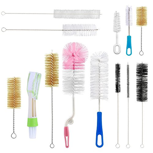 Yoassi 13Pc Food Grade Multipurpose Cleaning Brush Set, Includes Straw Brush|Nipple Cleaner|Bottle Brush|Blind Duster|Pipe Cleaner, Small,Long,Soft,Stiff Kit for Baby Bottles,Tubes,Jars,Bird Feeder (Bottle Brushes Small)