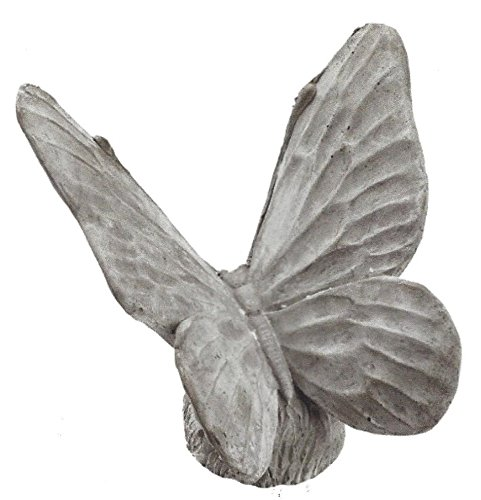 Cement Garden Statue (GLR Grace in the Garden Cement Butterfly Sculptured Figurine inspired by Catherine Galasso-Vigorito, 5 ¾ inch H x 5 ½ inch L x 5 ½ inch D, Natural Concrete Grey Color, One Papillion per order)
