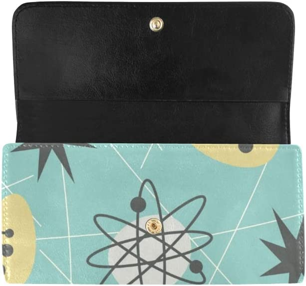 Unique Custom Mid Century Modern 1950 S Women Trifold Wallet Long Purse Credit Card Holder Case Handbag