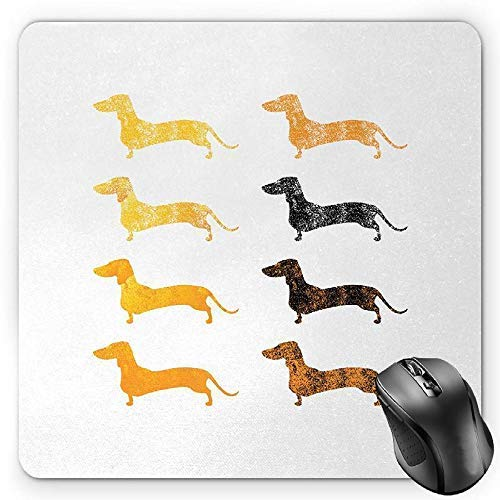 Dachshund Mouse Pad, Vintage Dog Silhouettes with a Grunge Theme Domestic Pets Pattern Gaming Mousepad Office Mouse Mat Marigold Black Orange -