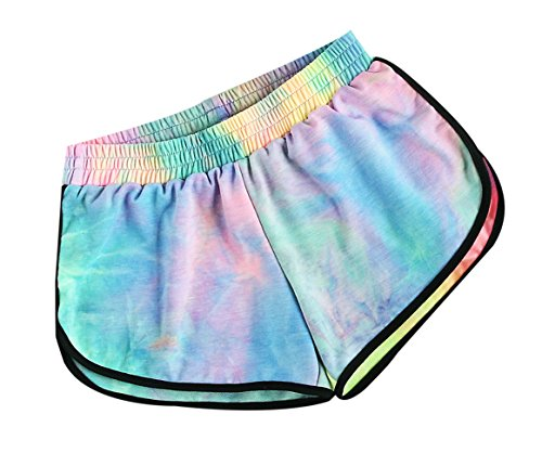 SweatyRocks Womens Tie Dye Print Yoga Workout Shorts Casual Lounge Shorts
