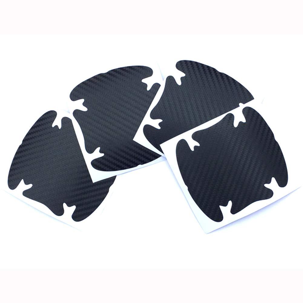 ZaCoo 4PCs 3D Carbon Fiber Car Door Handle Paint Scratch Protection Protector Protective Guard Auto Door Guard Protective Film Silver