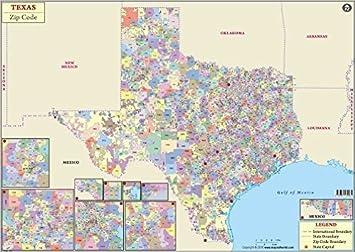 Amazon com : Texas Zip Code Map (36