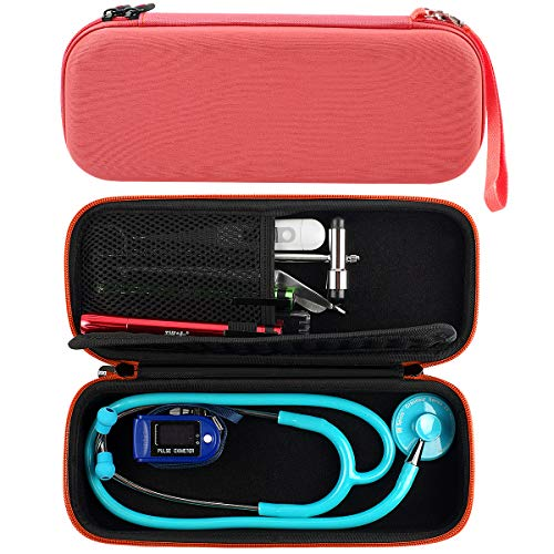 Stethoscope Case for 3M Littmann Classic III/Lightweight II S.E/Cardiology IV Diagnostic, MDF Acoustica Deluxe Stethoscope and More - Extra Room for Nurse Aceesories - Orange (Bag Only)