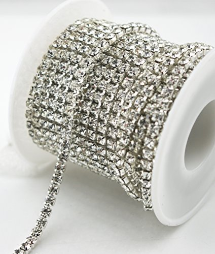 (10 Yard Crystal Rhinestone Close Chain Clear Trim Sewing Craft Silver color (3mm))