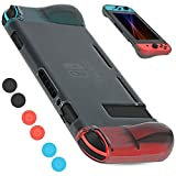 YCCTEAM Nintendo Switch Case - Scratch Free and Snaps on Easily TPU Moderate Hardness Clear Protective Cover Case for New Nintendo Switch 2017 with 8 Thumb Grips Caps - Black