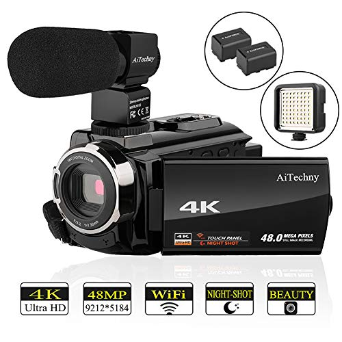 Video Camera, 4K Camcorder AiTechny Ultra HD Digital WiFi Camera 48MP 16X Digital Zoom Recorder WiFi Camera 3.0″ Touch Screen IR Night Vision with External Microphone, LED Video Light, and 2 Batteries