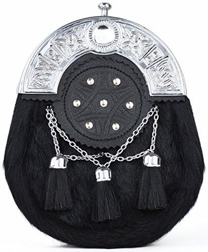 Kilt Society Celtic Targe Black Bovine and Leather Full Dress Sporran by Kilt Society