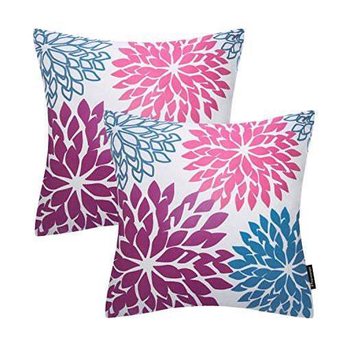 Phantoscope Set of 2 New Living Series Decorative Dahlia Blue Throw Pillow Case Cushion Cover 18