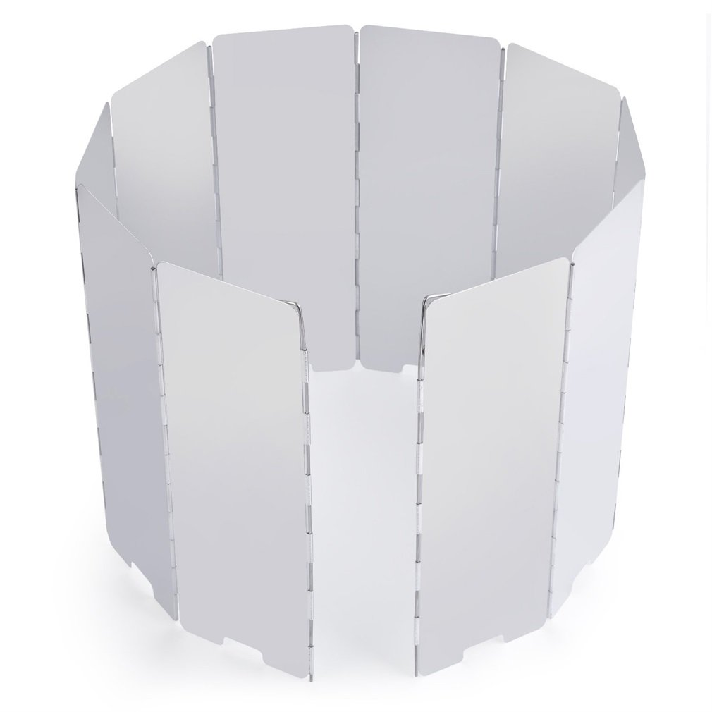 Outdoor Aluminium Windschutz, OUTAD 10 Stücke Faltbar Windschutzscheibe für Alle Arten von Feuerstellen BBQ (Campingkocher, Gaskocher)