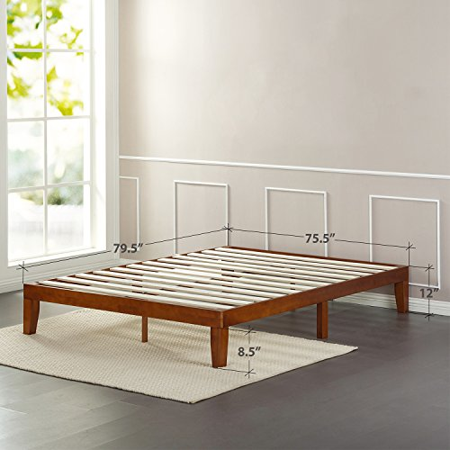 Zinus 12 Inch Wood Platform Bed / No Boxspring Needed / Wood Slat support / Cherry Finish, King