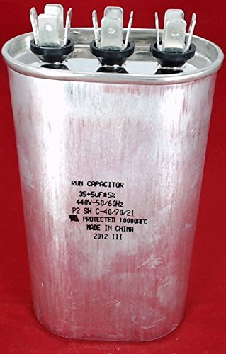 SUPCO CD35+5X440 Dual Motor Run Capacitor, Oval, 35 + 5 Mfd x 440V, 4.125'' Height, 1.75'' Width, 2.8125'' Length