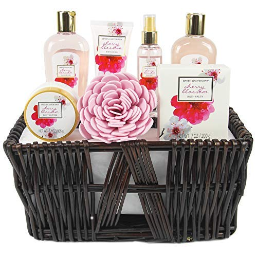 Green Canyon Spa Gift Baskets for Women Spa Gift Sets 8 Pcs Cherry Blossom Essential Oil Bath Set with Handmade Weaved Basket