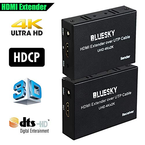 Bluesky 4K HDMI Extender, 197FEET HDMI Extender Over Single CAT6/  CAT6E/ CAT7 Ethernet Cable With Bi-directional IR Remote Support 4Kx2K, 3D, 1080P, EDID HDCP CEC DTS-HD