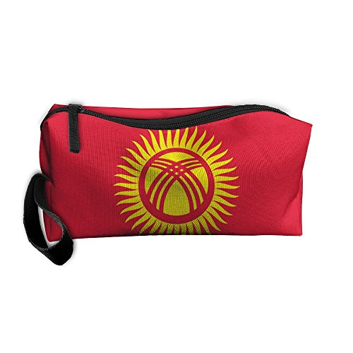 Cosmetic Bag Flag Of Kyrgyzstan Toiletry Bag Portable Makeup Pouch Travel Hanging Organizer Bag Storage Bag