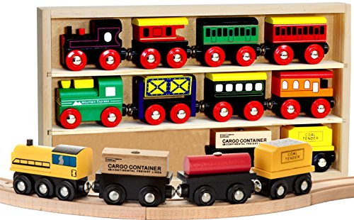 Kids Destiny 12 Pcs Wooden Engines & Train Cars Collection Compatible with Thomas Wooden Railway, Brio, Chuggington