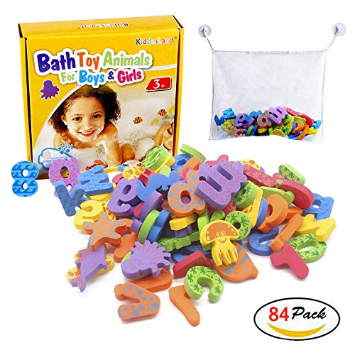 - Kiddosland Bath Toy Organizer Quick Dry Mesh Net Without Mold with Bundle Pack of 84 Pcs Baby Educational Bathtub Alphabet Toys Non-Toxic EVA Letters Sea Animals Numbers