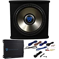 Rockville RVSPL15.1 15 1500 Watt Car Subwoofer+Enclosure+Mono Amp+Wires Package