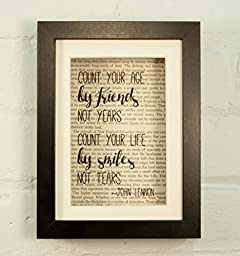 Count Your Age By Friends Not Years Count Your Life By Smiles Not Tears John Lennon Beatles Inspirational Quote Upcycled Vintage Book Page Art Framed 6x8 Shadow Box