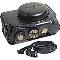 Clanmou G7 X Protective Leather Camera Case Bag for Canon PowerShot G7 X Digital Camera with Camera Shoulder Strap Black