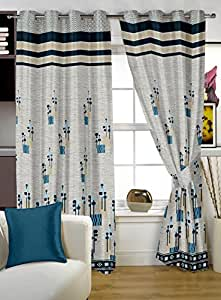 Story @ Home Berry Blackout 1 Piece Jacquard Window Curtains for Living Room and Bed Room - 5 Feet Long - Blue