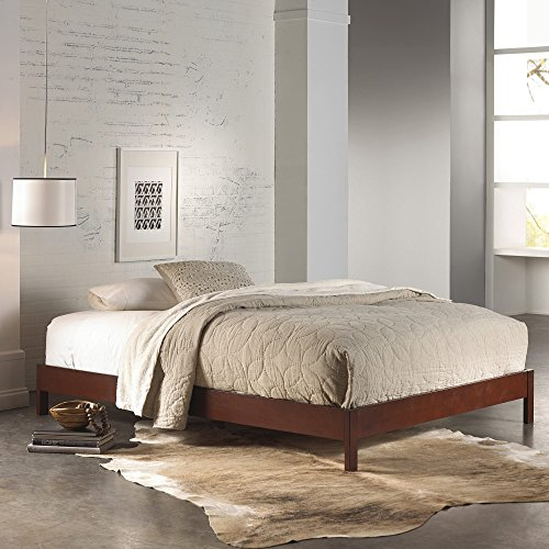 Leggett & Platt Murray Complete Wood Platform Bed with Bedding Support System and Box Design, Mahogany Finish, King