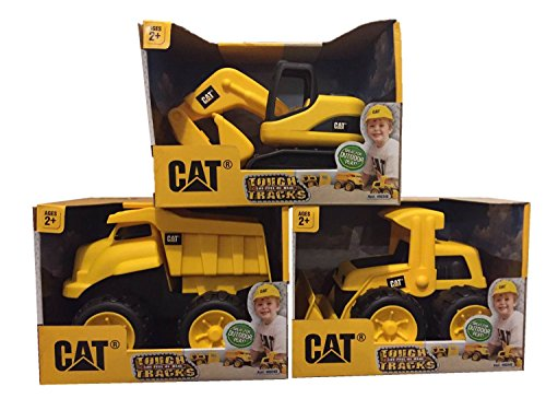 CAT Tough Tracks Toy Construction Set (Excavator, Front-end Loader, Dump -