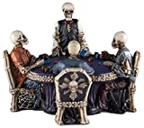 """Custom & Unique {6.25"""" x 4.5"""" Inch} 1 Single, Home & Garden """"Standing"""" Figurine Decoration Made of Grade A Resin w/ Skeletons Playing Texas Poker Cards Style {White, Black, Purple, & Grey}"""
