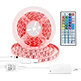 LED Flexible Strip Light Kit RGB Multicolor Dimmable Rope Light 16.4Ft 300LEDs SMD5050 DC12V with 44Key IR Remote Controller for Closet Kitchen Undercabinet Car Bike DIY Game Room Party