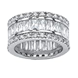 Emerald-Cut White Cubic Zirconia Platinum over .925 Sterling Silver Eternity Band