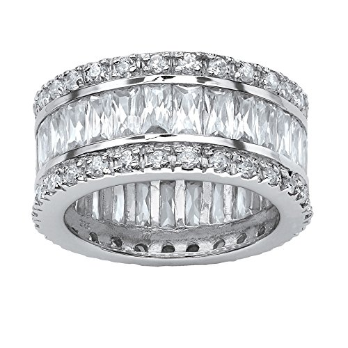 11mm Band Sterling Silver Ring (Emerald-Cut White Cubic Zirconia Platinum over .925 Sterling Silver Eternity Band Size 11)